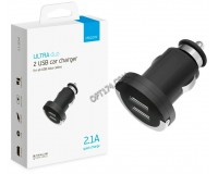 Автомобильное зарядное устройство Deppa 11204 Ultra Duo 12/24В 2хUSB, Выходной ток: USB1-1A, USB2-2, 1A, индикация включения, покрытие