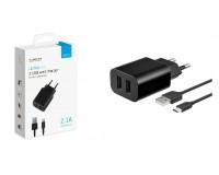 Зарядное устройство Deppa 11303 Ultra Duo 2100 mA 2хUSB, выходной ток: USB1-1A, USB2-2, 1A, черное, кабель microUSB, коробка