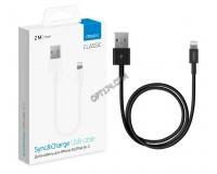 Кабель iPhone 5 Deppa длина 2м, допустимый ток до 2А, cкорость передачи данных: до 480 Мбит/сек, коробка, черный (72224)