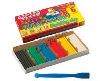 Пластилин Пифагор 100970 количество цветов в наборе: 6 цветов масса: 120 г с пластиковым стеком, картонная упаковка