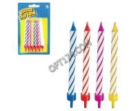 Товары для праздника Праздничные свечи для торта Веселая затея 1502-0182 комплект 12 шт., с подставкой, 8, 5 см, в блистере(590618)