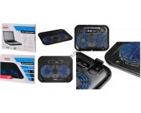 Аксессуары для ноутбуков теплоотводящая подставка Buro BU-LCP140-B214H, 14'', 338х255х22мм, 2 (по 14см), 1xUSB, металлическая сетка, пластик, черный