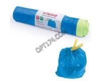 Мешки для мусора Лайма 601397 60л., 55х62 см., 12 мкм., комплект 20шт., прочные, с завязками, синие, ПНД рулон