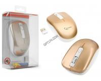 Мышь беспроводная Gembird MUSW-400-G USB Optical(800/1200/1600dpi) розово-золотистая, 3 кнопки+колесо-кнопка бесшумная, блистер