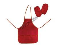 Фартук для труда и занятий творчеством ТОП-СПИН 104374 с нарукавниками, для учениц начальной школы, водонепроницаемый, размер 44х55 см, красный