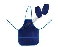 Фартук для труда и занятий творчеством ТОП-СПИН 104375 с нарукавниками, для учеников начальной школы, водонепроницаемый, размер 44х55 см, синий