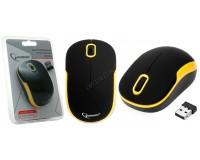 Мышь беспроводная Gembird MUSW-200BKY USB Optical (1000dpi) черно-желтая, 2 кнопки+кнопка-колесо покрытие Soft Touch для комфортной работы, блистер