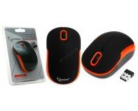 Мышь беспроводная Gembird MUSW-200BKO USB Optical (1000dpi) черно-оранжевая, 2 кнопки+кнопка-колесо покрытие Soft Touch для комфортной работы, блистер