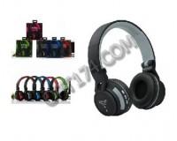 Наушники беспроводные - SY-BT896 полноразмерные, Bluetooth+EDR, MP3 плеер, поддержка карт памяти microSD до 32Гб, пластик, коробка, цветные