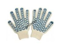 Перчатки хозяйственные х/б с ПВХ напылением Волна 6 нитей белые