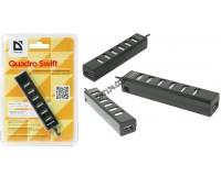 Концентратор USB (HUB) Defender Quadro Swift 7 портов, скорость передачи данных – до 5 Гбит/с., токовая защита, режим «горячей» замены (83203)