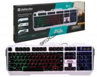 Клавиатура игровая Defender Metal Hunter GK-140L RU USB Black 104 клавиши (19 Anti-Ghost) RGB подсветка, распознает одновременное нажатие клавиш, металлическая крышка