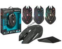 Мышь игровая Defender Forced GM-020L USB Optical (800/1800/2400/3200 dpi) черная, 5 кнопок+колесо-кнопка, редактор макросов, эмуляция клавиш клавиатуры, коврик в комплекте, коробка (52020)