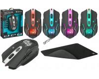 Мышь игровая Defender Skull GM-180L USB Optical (800/1800/2400/3200 dpi) черная, 5 кнопок+колесо-кнопка редактор макросов, эмуляция клавиш клавиатуры, коврик в комплекте, коробка