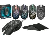 Мышь игровая Defender Ghost GM-190L USB Optical (800/1800/2400/3200 dpi) черная, 5 кнопок+колесо-кнопка, редактор макросов, эмуляция клавиш клавиатуры, коврик в комплекте, коробка (52190)