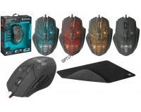 Мышь игровая Defender Fighter GM-260L USB Optical (800/1800/2400/3200 dpi) черная, 5 кнопок+колесо-кнопка, редактор макросов, эмуляция клавиш клавиатуры, коврик в комплекте, коробка (52260)