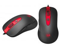 Мышь игровая Redragon Gerderus USB Optical черная, 6 кнопок+колесо-кнопка с прорезиненным покрытием Soft Rubber Skin, функция FIRE для шутеров, эмуляция клавиш клавиатуры, коробка