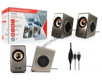 Акустические системы 2.0 Gembird SPK-400 2х3Вт питание от USB, Extra Bass System (пассивные излучатели), пластик, серый/черный