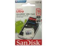 Флэш карта microSDHC 16 GB SanDisk Class 10 UHS-I Ultra Android 80MB/s без адаптера