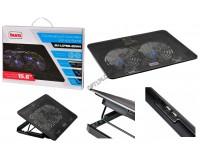 Аксессуары для ноутбуков теплоотводящая подставка Buro BU-LCP156-B214H, 15, 6'', 355х255х30мм, 2 (по 14 см), 2xUSB, металлическая сетка, пластик, черный