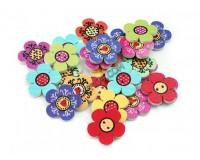 Пуговицы декоративные Белоснежка 885-DB Цветочки в комплекте: 25 шт. размер 2, 0 см. материал: дерево, цвет: цветные