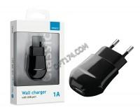 Зарядное устройство Deppa 23123 1000 mA 1хUSB, выходной ток: USB-1A, черное, коробка