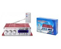 Усилитель звука - HY400 2 х 20 Вт, цифровой радиоприемник 87.5-108 мГц , поддержка USB, SD/MMC до 16гб, размер: 15 х 8.3 х 4 см, пульт ДУ