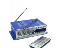 Усилитель звука - HY500 2 х 20 Вт, цифровой радиоприемник 87.5-108 мГц , поддержка USB, SD/MMC до 16гб, размер: 15.5 х 8.5 х 4см, пульт ДУ