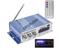 Усилитель звука - HY502 2 х 20 Вт, цифровой радиоприемник 87.5-108 мГц , поддержка USB, SD/MMC до 16гб, размер: 15.5 х 8.3 х 4см, пульт ДУ