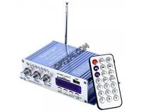 Усилитель звука - HY504 4 х 20 Вт, цифровой радиоприемник 87.5-108 мГц , поддержка USB, SD/MMC до 16гб, размер: 15.5 х 8.3 х 4см, пульт ДУ