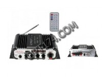 Усилитель звука - HY600 2 х 20 Вт, цифровой радиоприемник 87.5-108 мГц , поддержка USB, SD/MMC до 16 гб, размер: 16.5 х 8.5 х 4.5 см, пульт ДУ
