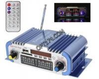 Усилитель звука - HY601 2 х 20 Вт, цифровой радиоприемник 87.5-108 мГц , поддержка USB, SD/MMC до 16 гб, размер: 16.5 х 8.5 х 4.5 см, пульт ДУ
