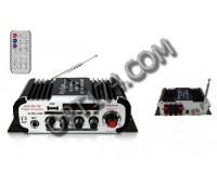 Усилитель звука - HY604 4 х 20 Вт, цифровой радиоприемник 87.5-108 мГц , поддержка USB, SD/MMC до 16 гб, размер: 16.5 х 8.5 х 4.5 см, пульт ДУ
