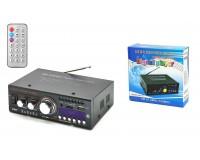 Усилитель звука Kentiger HY806 2 х 20 Вт, Bluetooth, цифровой радиоприемник 87.5-108 мГц , поддержка USB, SD/MMC до 16 гб, размер: 17 х 13 х 5.2 см, пульт ДУ