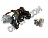 Фонарь налобный Патриот SL-34 2 светодиода CREE T6 2х18650(2400mAh, 3.7V), ZOOM, пластик/металл, азу