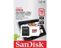 Флэш карта microSDHC 16 GB SanDisk Class 10 UHS-I Ultra Android 80MB/s с адаптером
