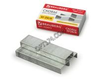 Скобы для степлера BRAUBERG 225973 размер: №26/6, 1000 скоб в коробочке, цинковое покрытие