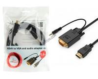 Конвертер Cablexpert A-HDMI-VGA-03-6 встроенный чип-конвертор сигналов, 3.5 мм стерео-аудио штекер, пакет, длина 1, 8 м