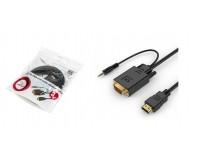Кабель HDMI-VGA Cablexpert 3м, встроенный чип-конвертор сигналов, 3.5 мм стерео-аудио штекер, пакет, черный (A-HDMI-VGA-03-10)