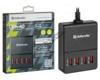 Зарядное устройство Defender UPA-40 5000 mA 4хUSB, выходной ток: USB1-2А, USB2-1А, USB3-1А, USB4-1А, блистер