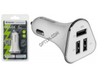 Автомобильное зарядное устройство Defender UCA-04 12/24В 3хUSB, Выходной ток: USB1-2А, USB2-2А, USB3-2A, смарт-система распределения токов, индикация включения, блистер (83566), белое