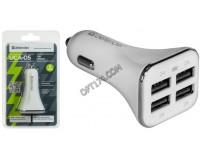 Автомобильное зарядное устройство Defender UCA-05 12/24В 4хUSB, Выходной ток: USB1-2А, USB2-2А, USB3-2А, USB4-2А, смарт-система распределения токов, индикация включения, блистер (83567), белое