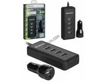 Автомобильное зарядное устройство Defender ACA-02 12-24В 5хUSB, Выходной ток: USB разъем на адаптере: 2, 4А, USB1-2, 4А, USB2-2, 4А, USB3-1А, USB4-1А, смарт-система распределения токов, индикация включения, блистер (83568), черное