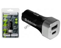 Автомобильное зарядное устройство Defender UCG-01 12/24В 1хUSB+1хTYPE C, Выходной ток: USB-2, 4А, TYPE С-3А, смарт-система распределения токов, индикация включения, блистер (83569), черное