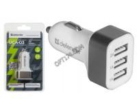 Автомобильное зарядное устройство Defender UCA-03 12/24В 3хUSB, Выходной ток: USB1-2А, USB2-1А, USB3-1A, индикация включения, блистер (83570), серо-белое