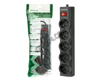 Сетевой фильтр Defender ES largo 5 розеток 1.8 м. автоматический несгораемый предохранитель, встроенный в выключатель, черный (99497)