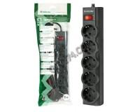 Сетевой фильтр Defender ES largo 5 розеток 5 м. автоматический несгораемый предохранитель встроенный в выключатель, черный (99499)
