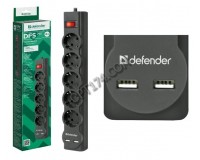 Сетевой фильтр Defender DFS 751 5 розеток 1.8 м. 2xUSB, 2.1A, автоматический несгораемый предохранитель, встроенный в выключатель, черный (99751)