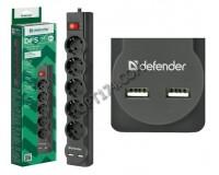 Сетевой фильтр Defender DFS 753 5 розеток 3 м. 2xUSB, 2.1A, автоматический несгораемый предохранитель, встроенный в выключатель, черный (99753)