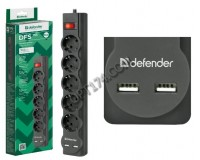 Сетевой фильтр Defender DFS 755 5 розеток 5 м. 2xUSB, 2.1A, автоматический несгораемый предохранитель, встроенный в выключатель, черный (99755)